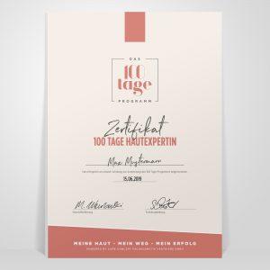 Schulungszertifikat für 100 Tage Hautexpertin